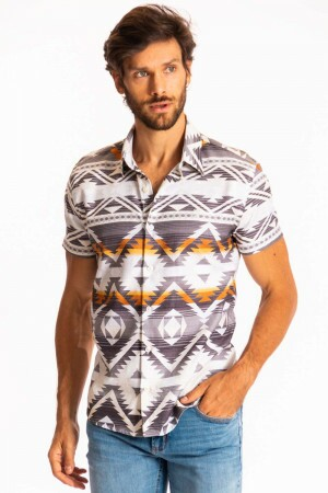 Camisa Folk Sunset Manga Curta